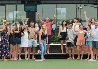 group playing bowls, lawn bowls at moama, moama bowls, barefoot bowls at moama, celebrations